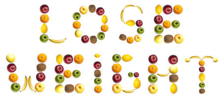 Lose weight word made of different of fruits photo