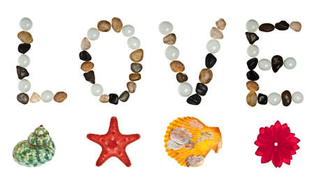 Love word made of stones and sea objects photo