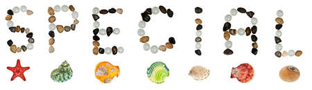 Special word made of stones and sea objects photo