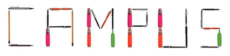 Campus word made of different type of writing tools photo