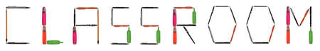 Classroom word made of different type of writing tools photo