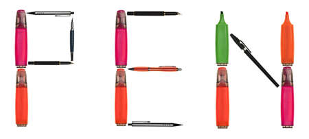 Pen word made of different type of writing tools photo