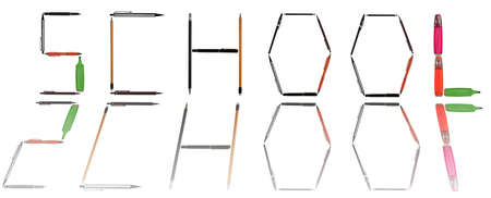 School word made of different type of writing tools photo