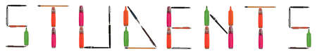 Students word made of different type of writing tools Stock Photo - 8924783