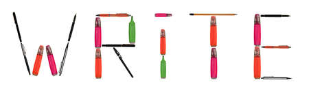Write word made of different type of writing tools Stock Photo - 8924769