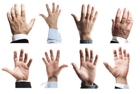 male palm: Business people hands asking for help