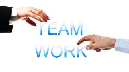 Team work words made by business woman and man hands photo