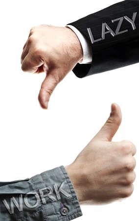 no pase: Macho de manos no expresando s� para el trabajo y para Lazy Foto de archivo