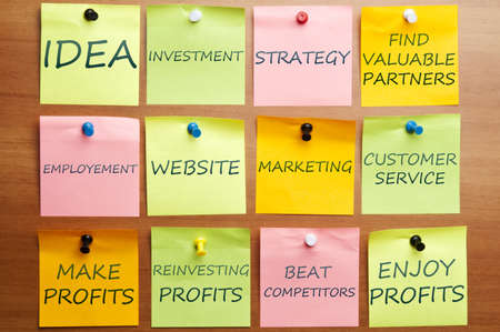 Business plan made of post it notes Stock Photo - 8924827