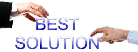 best ad: Best solution words made by business woman and man hands