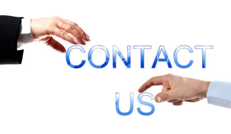 Contact us words made by business woman and man hands Stock Photo - 8924924