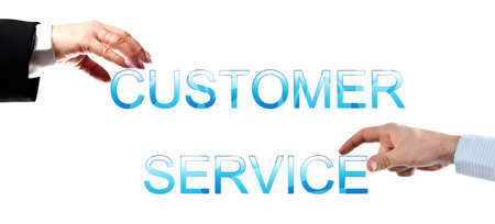 Customer service words made by business woman and man hands photo