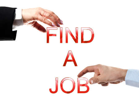 Find a job words made by business woman and man hands photo