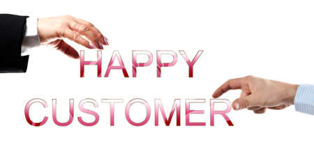Happy customer words made by business woman and man hands photo