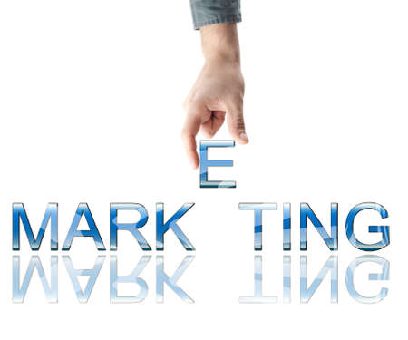 marketing research: Marketing word made by male hand