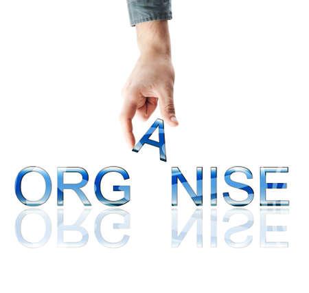 organise: Organizar la palabra de mano masculina