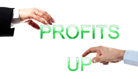 profits up words made by business woman and man hands photo