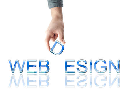 Webdesign word made by male hand Stock Photo - 8925103