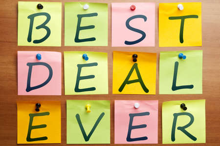 Best deal ever made by post it Stock Photo - 8925319