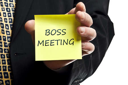 Boss meeting post it in business man hand photo