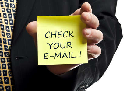 your: Check your e-mail post it in business man hand