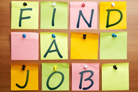 Find  ajob made by many post it Stock Photo - 8925179