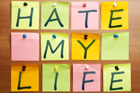 Hate my life words made by post it Stock Photo - 8925314