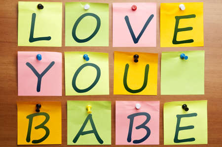 declaration of love: Love you babe made by post it