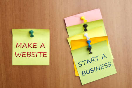 website words: Make a website post it  Stock Photo