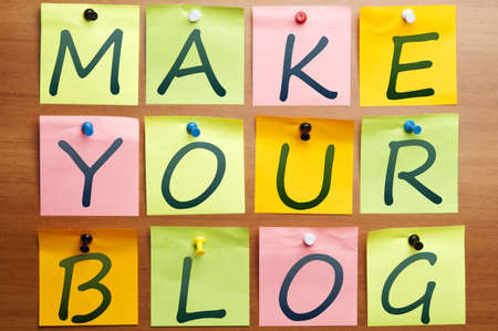 Make your blog words made by post it Stock Photo - 8925498