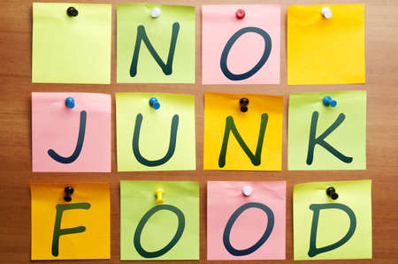 No junk food words made by post it Stock Photo - 8925444