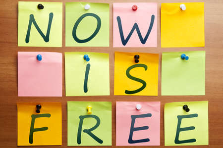 Now is free made by post it Stock Photo - 8925442