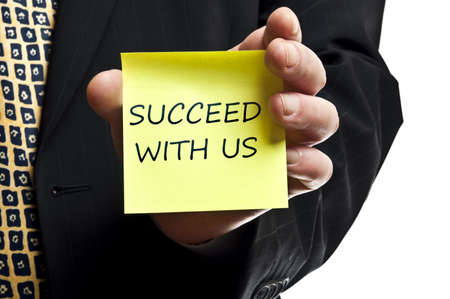 growing success: Succeed with us post it in business man hand