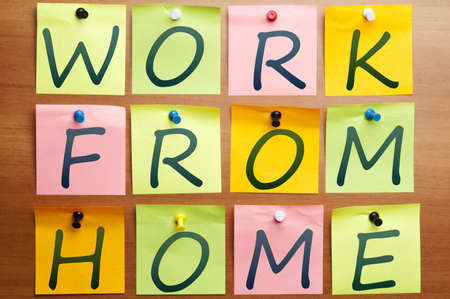 lifestyle home: Work from home ad made by post it Stock Photo