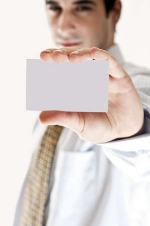 Business man showing empty business card Stock Photo - 8992136