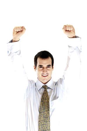 Isolated happy business man celebrating Stock Photo - 8992141