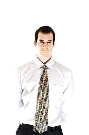 Isolated business man with duct tape on mouth Stock Photo - 8992146