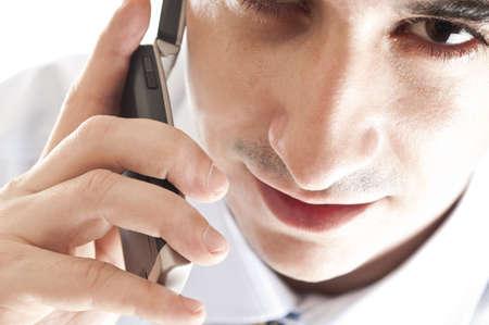 Closeup to youngman talk on phone Stock Photo - 8992170