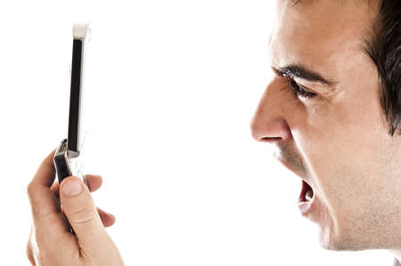 Man yelling in his phone Stock Photo - 8992151
