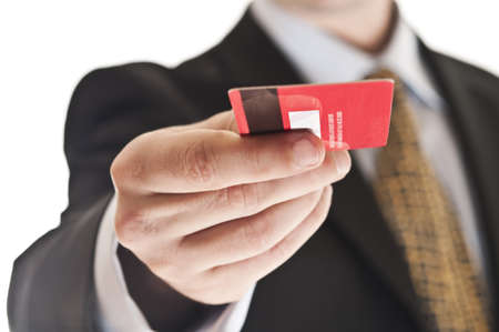 transaction: Close-up op credit card in man hand