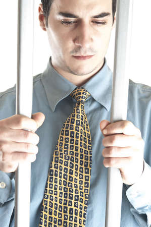 Isolated business man in jail Stock Photo - 8992178
