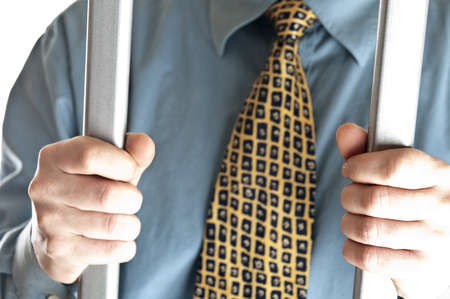 Isolated business man in jail Stock Photo - 8992168