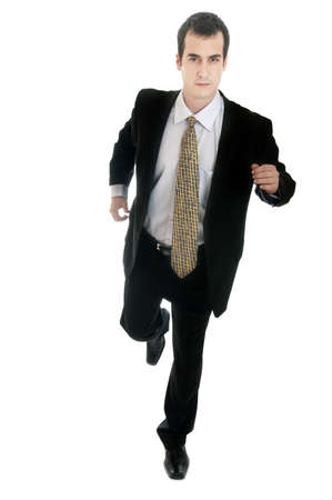 Isolated young business man running photo