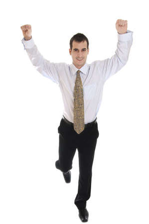 Isolated young business man finish running as winner photo