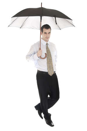 Isolated business man with umbrella Stock Photo - 8992117