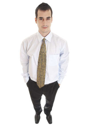 Isolated  confident young business man photo