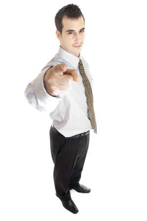 Isolated young business man pointing Stock Photo - 8992123