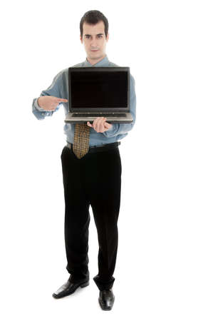 Isolated business man with laptop Stock Photo - 9139392