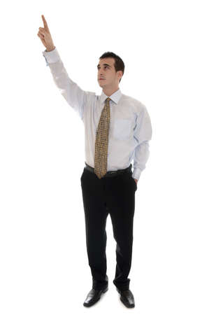 pointing up: Isolated business man pointing up