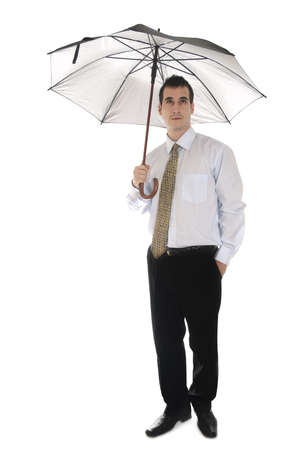 Isolated business man with umbrella Stock Photo - 9139508